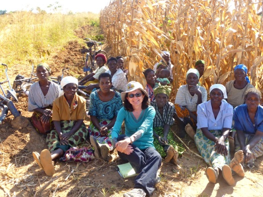 Joan  in Malawi, 2012, interviewing women farmers